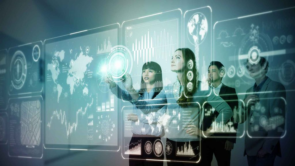 People studying digital data (Technological advancements)