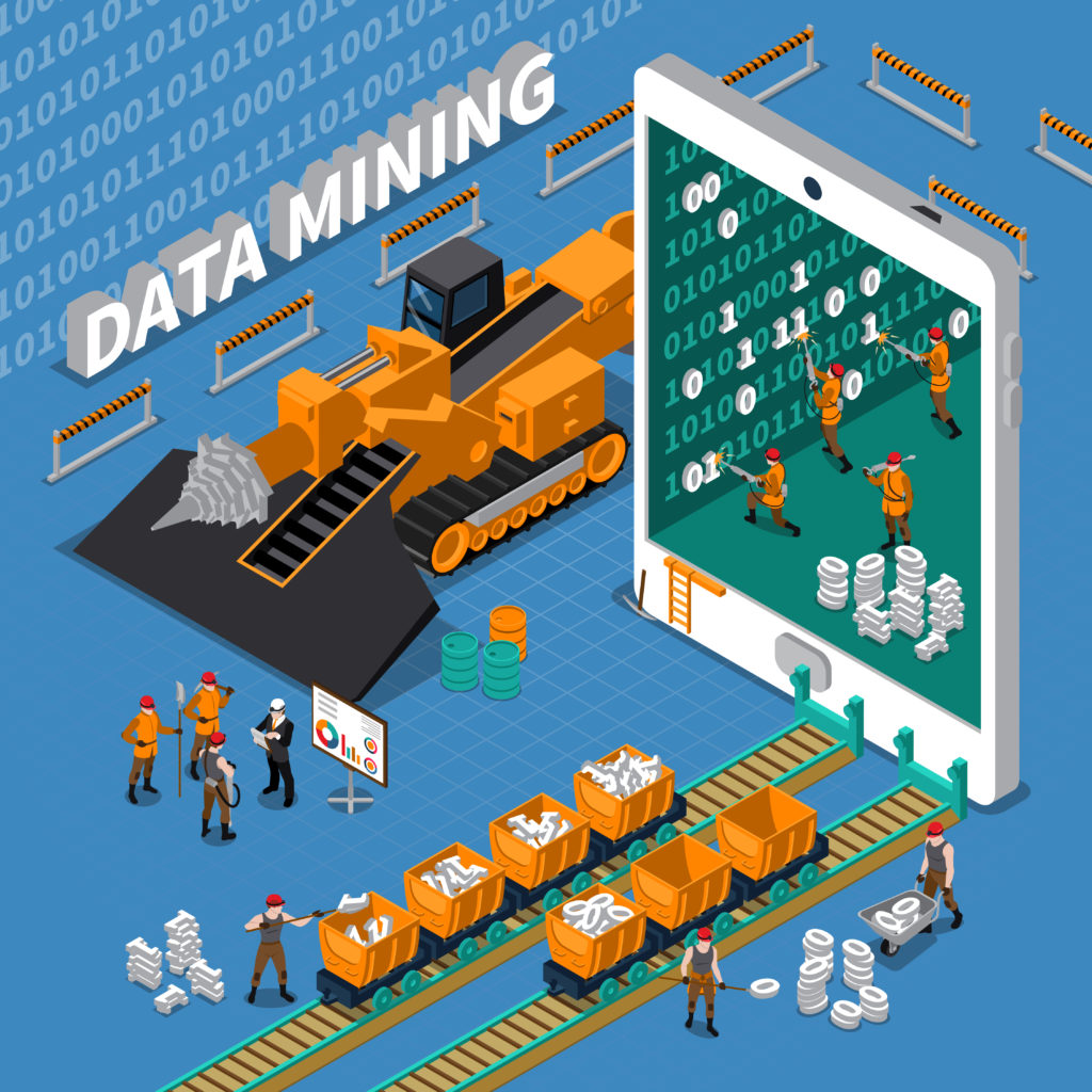 Data mining concept with tablet image and miner workers on blue background