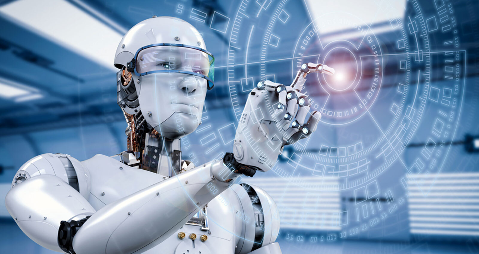 A robot working on new technologies(RPA & AI together play an important role in digital transformation)