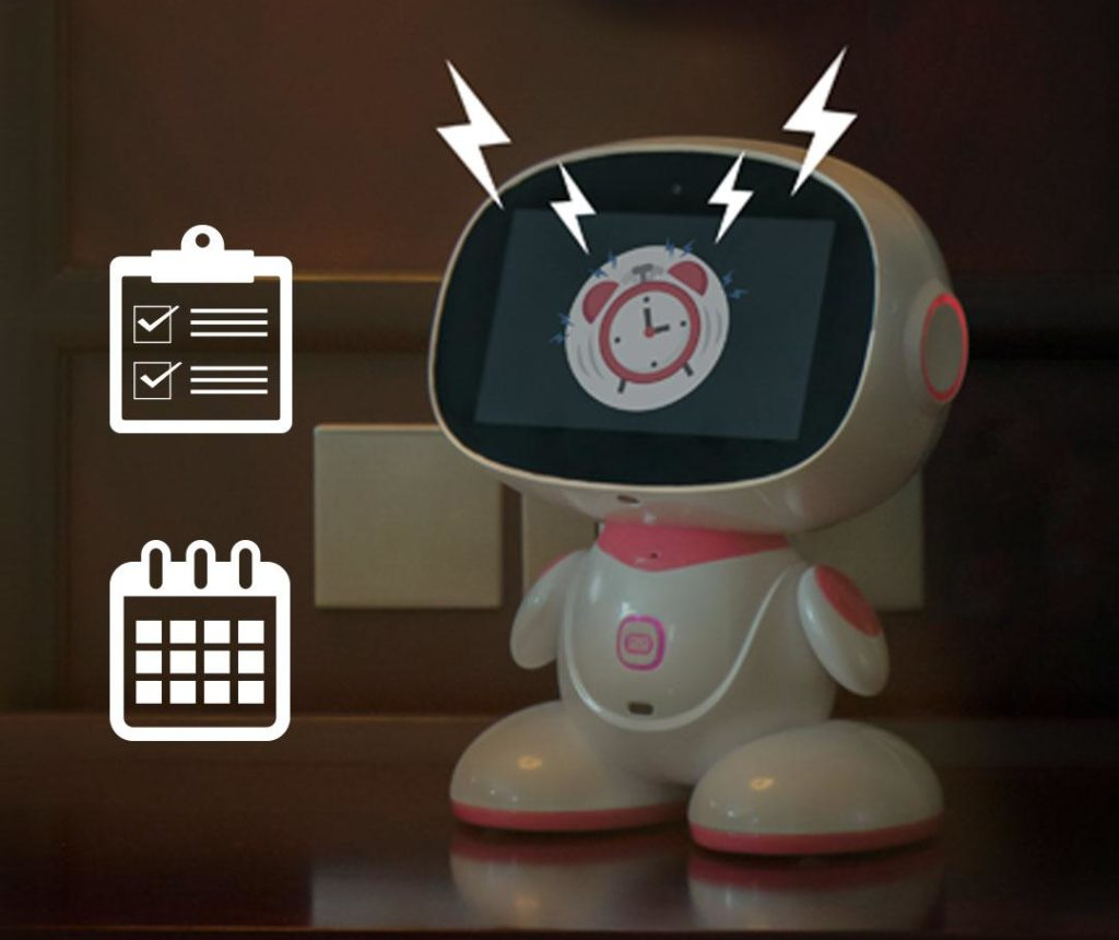 Misa robot giving alarms, reminders and calender preview