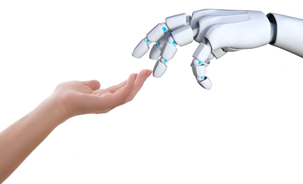 A human and robot touching the hands(RPA & AI together play an important role in digital transformation)