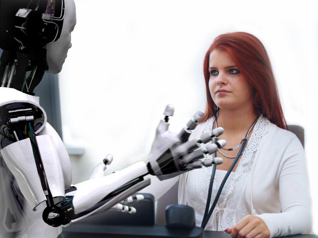 A human and a robot