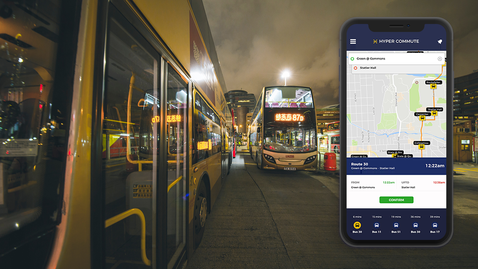 Public transits and mobile screen showing the image of hyper commute app