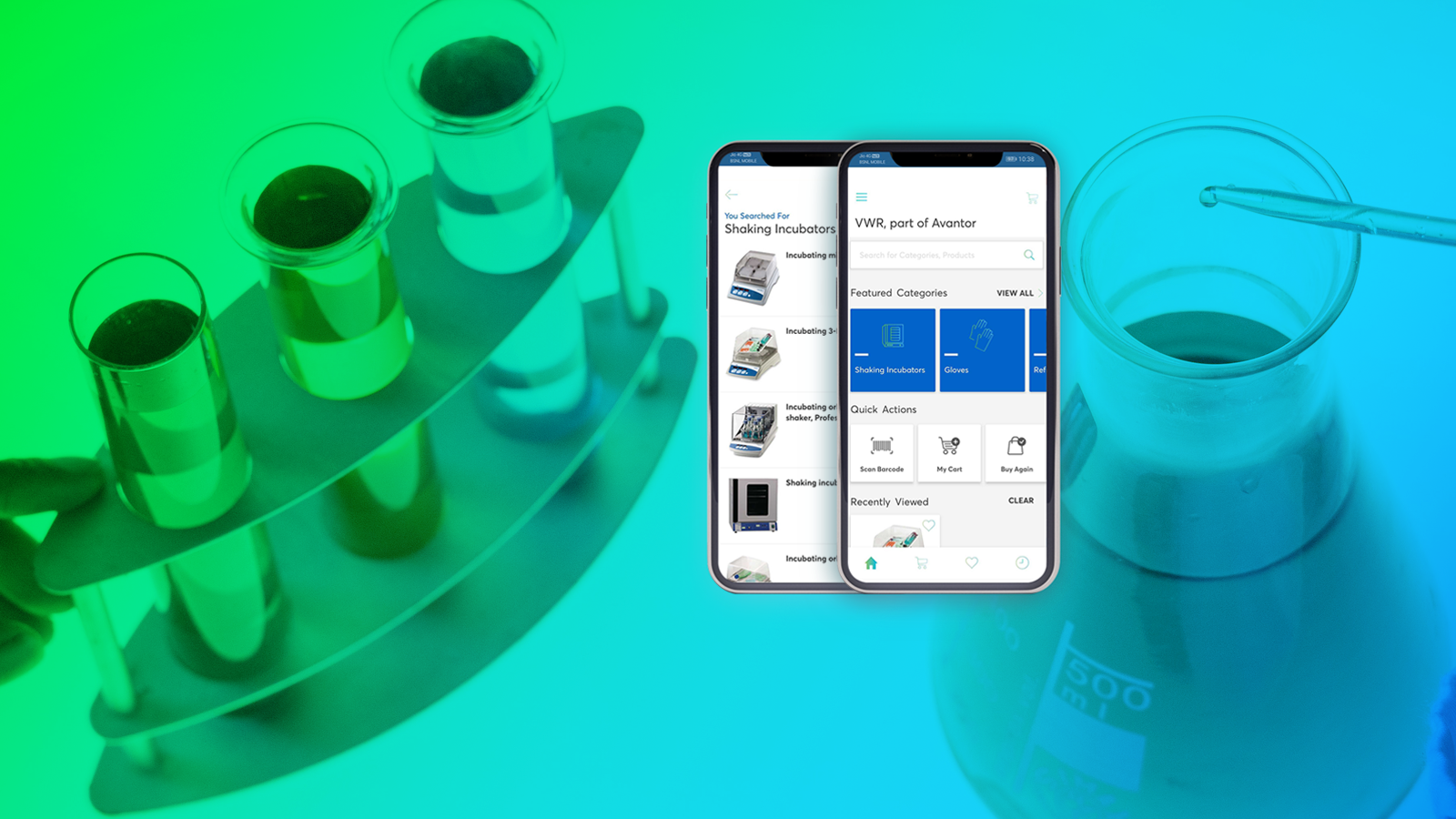 Laboratory products and mobile screens with images of VWR app
