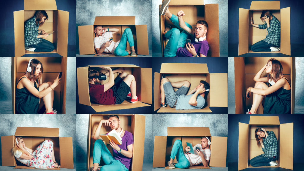 people inside boxes