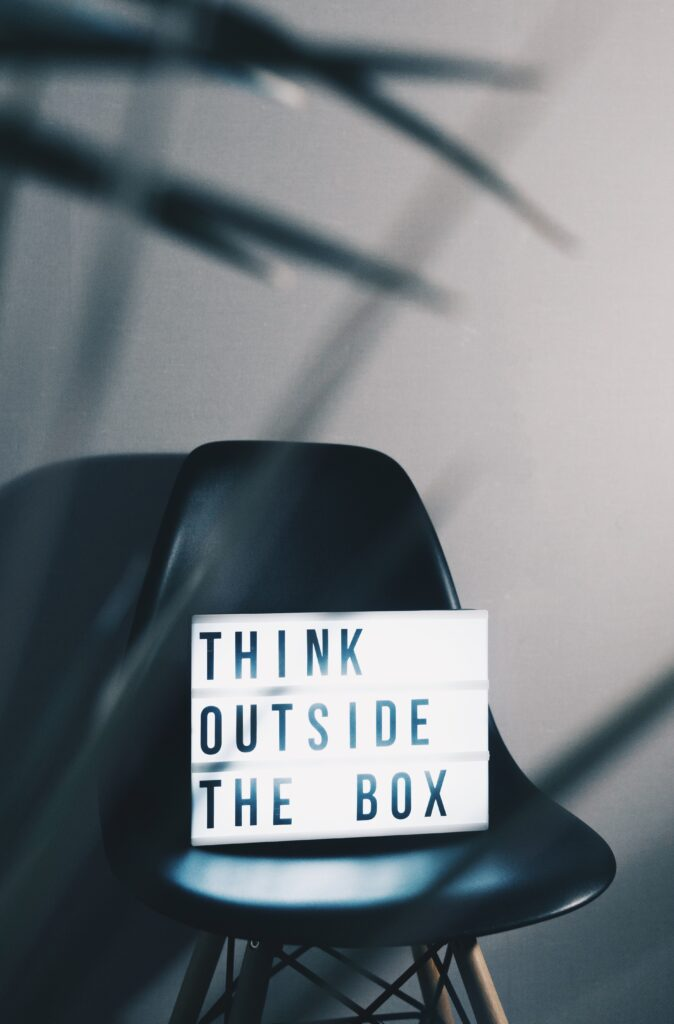 a chair with think outside the box